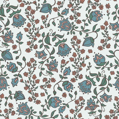 Vector seamless pattern decoration of rose flowers and leaves. Ilustração