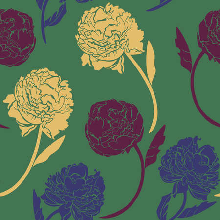 Vector seamless pattern with colorful peonies on green background. Silhouettes of vivid flowers.