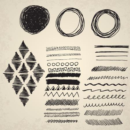 Aislados elementos de decoración. Dibujado a mano ilustración vectorial.