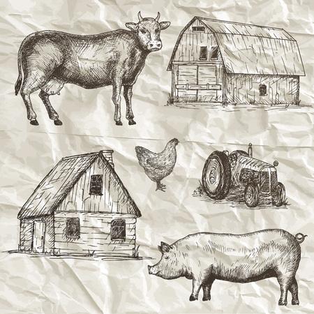 cut: Farm animals collection. Hand drawn vector illustration. Illustration