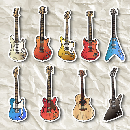 icon collection: Set of electric guitars. Hand drawn vector. Illustration