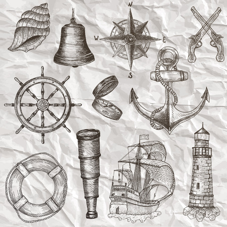anchor drawing: Items on the marine theme. Hand drawn elements.