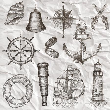 ancla: Los art�culos sobre el tema marino. Mano elementos dibujados.