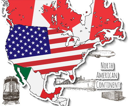 continente americano: Dibujado a mano mapa. Continente norteamericano. Dibujado a mano ilustración vectorial.