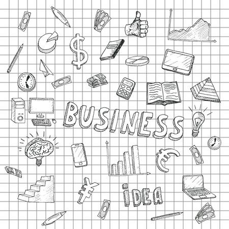 business money: Business Idea doodles icons set. Vector illustration. Business background.