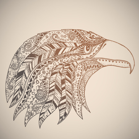 hat with feather: Eagle in oriental tribal ornament. Hippie ornament. Hand drawn.