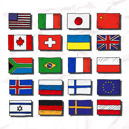 flags of the world: Set of flags. Hand drawn vector illustration. Illustration