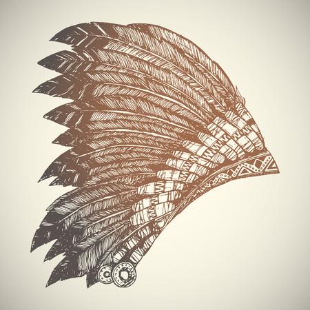 indian headdress: Vintage Hand Drawn Native American Indian Headdress. Illustration