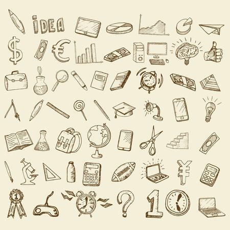 lapiz y papel: Conjunto de iconos del doodle. Temas comerciales y escuelas.