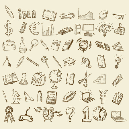 globe hand: Set of doodle icons. Business subjects and schools.