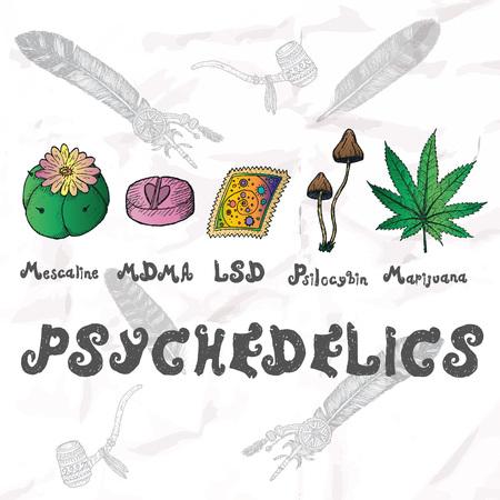 psilocybin: Psychedelics set. Hand drawn elements vector illustration. Illustration