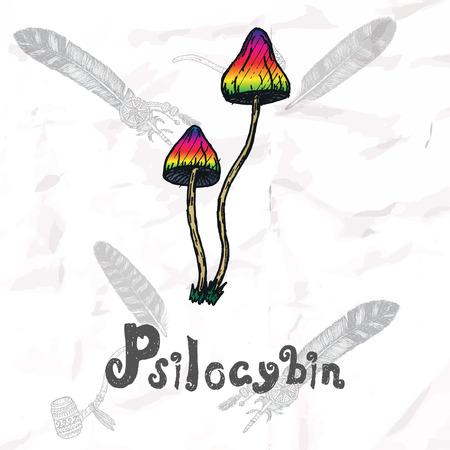 psychedelics: Psychedelics set. Hand drawn elements vector illustration. Illustration