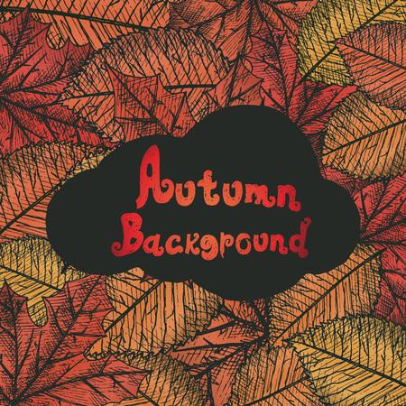 izole nesneleri: Autumn background isolated objects. Hand drawn vector illustration.