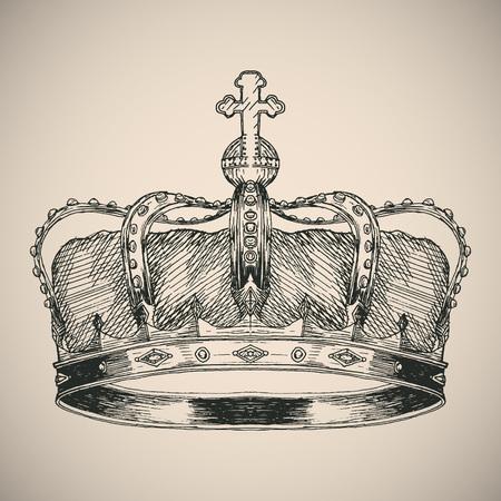 Crown symbol sketch. Hand drawn vector illustration.  イラスト・ベクター素材