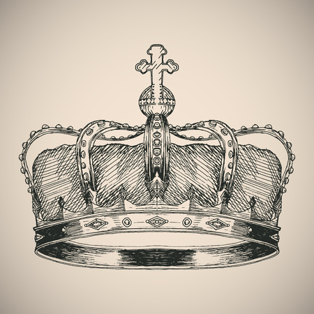 Crown symbol sketch. Hand drawn vector illustration. Illustration