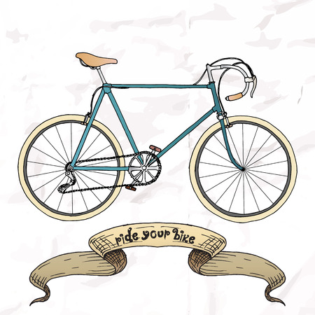Ride your bike picture. Hand drawn vintage.