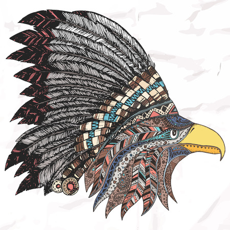 Eagle in feathered tribal headdress. Hippie ornament. Hand drawn.