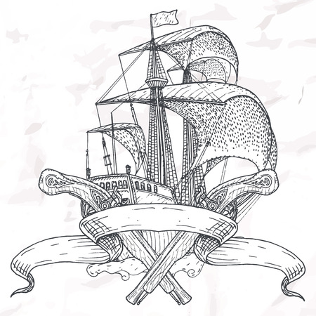 Items op het mariene thema. Hand getekende elementen.