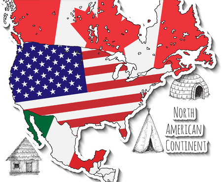 continente americano: Hand drawn map. North American continent. Hand drawn vector illustration.