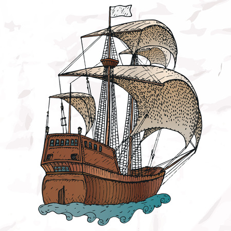 navy ship: Items on the marine theme. Hand drawn elements.