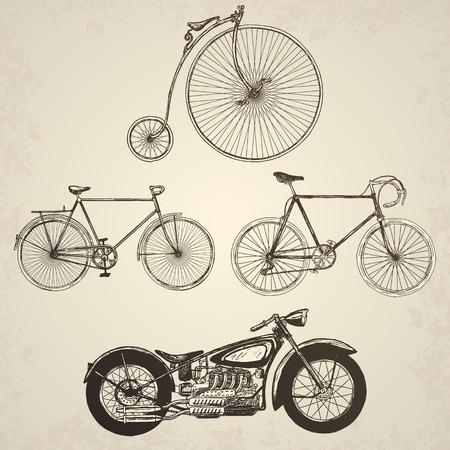 antique: Vintage bicycles set. Isolated objects on grunge background. Illustration