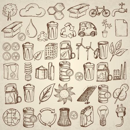 paneles solares: Conjunto de iconos de la ecología. Dibujado a mano ilustración vectorial.
