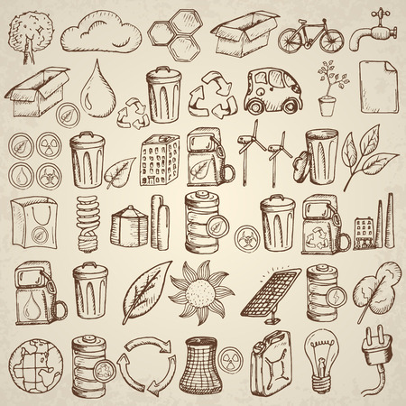 flower sketch: Ecology icons set. Hand drawn vector illustration.