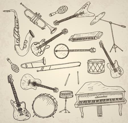 brass: Hand drawn musical instruments set. Vector illustration.