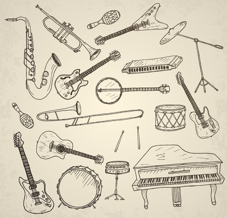 Hand drawn musical instruments set. Vector illustration.