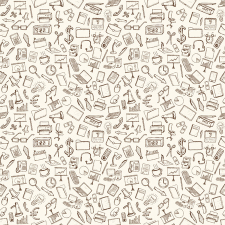hand work: Office and business icons set. Hand drawn vector illustration. Seamless pattern.