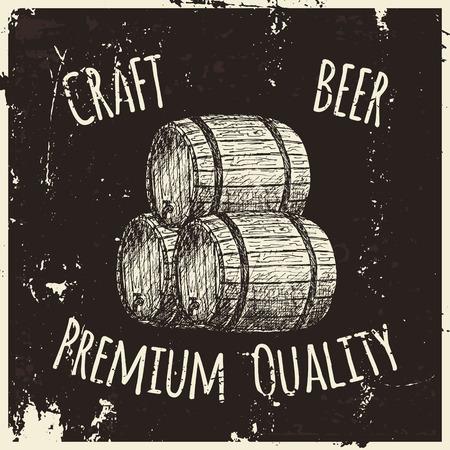 old bar: Vintage style beer sketch. Hand drawn vector illustration.