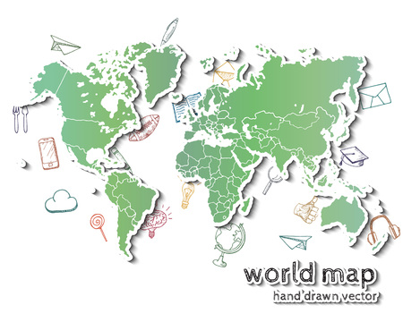 globe hand: Hand drawn realistic world map. Concept with doodle icons.