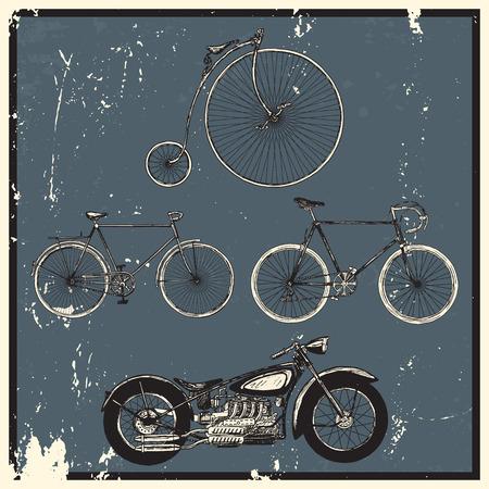 izole nesneleri: Vintage bicycles set. Isolated objects on grunge background. Çizim