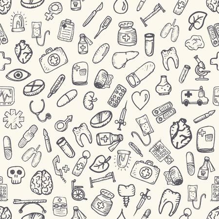 medics: Set of medical icons. Hand drawn vector elements.