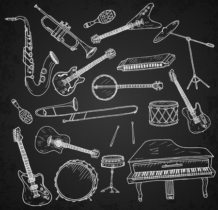 trompeta: Dibujado a mano instrumentos musicales fijados. Ilustración del vector.