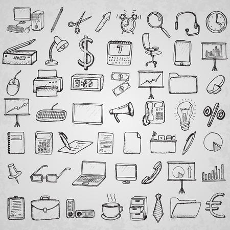 web element: Office and business icons set. Hand drawn vector illustration.