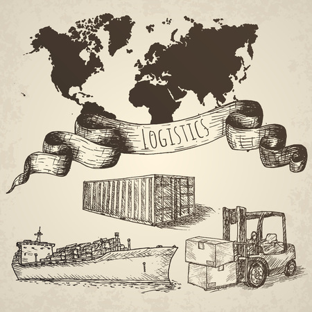 global logistics: Logistics hand drawn isolated elements. Hand drawn vector illustration.
