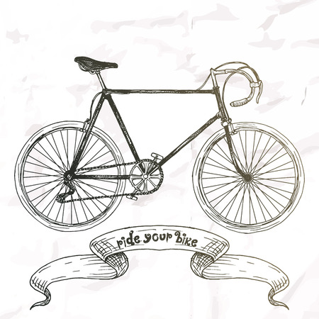 bycicle: Ride your bike picture. Hand drawn vintage.