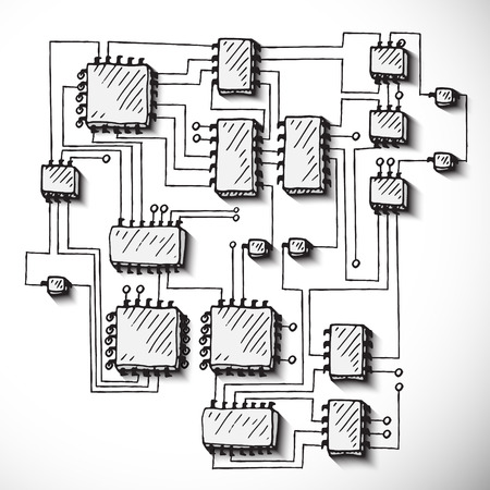 Printed circuit board. Hand drawn vector illustration.