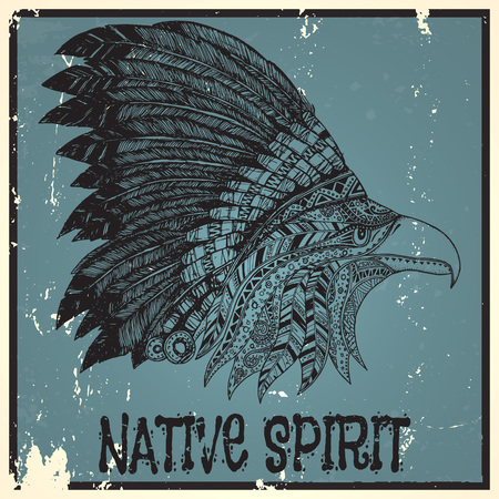 isolated on a white background: Eagle in feathered tribal headdress. Hippie ornament. Hand drawn.