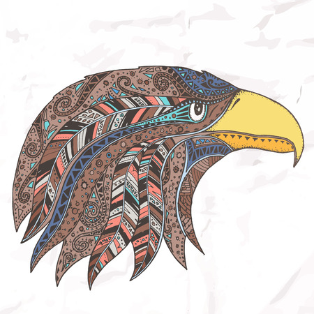 feathered: Eagle in feathered tribal headdress. Hippie ornament. Hand drawn.