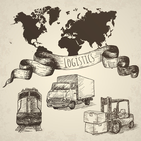 freight transportation: Logistics hand drawn isolated elements. Hand drawn vector illustration.