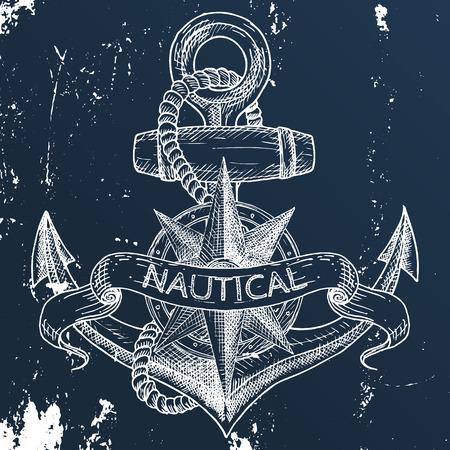 Items on the marine theme. Hand drawn elements.