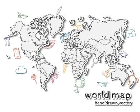 mundo manos: Dibujado a mano realista mapa del mundo. Concepto con iconos del doodle.
