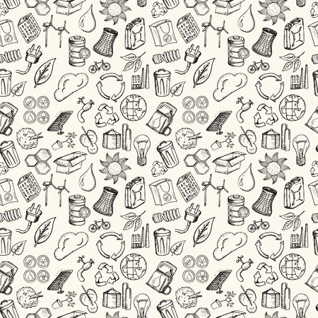 Ecology icons set. Hand drawn vector illustration. Seamless pattern.