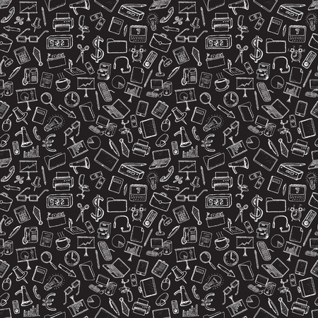 black coffee: Office and business icons set. Hand drawn vector illustration. Seamless pattern.