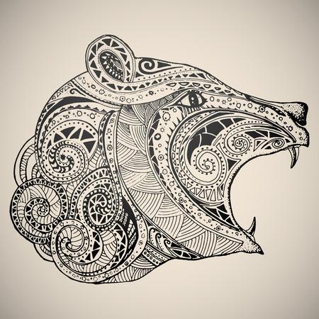Bear in oriental tribal ornament. Hippie ornament. Hand drawn vector illustration.  イラスト・ベクター素材