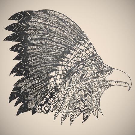 american native: Eagle in oriental tribal ornament. Hippie ornament. Hand drawn.