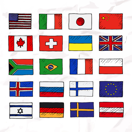 all european flags: Set of flags. Hand drawn vector illustration. Illustration