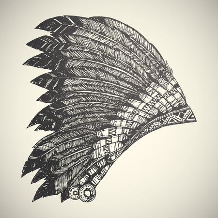 american history: Vintage Hand Drawn Native American Indian Headdress. Illustration